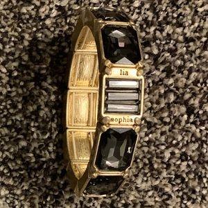 Lia Sophia Gold/Gray Stretch Rhinestone Bracelet